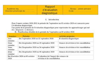 نموذج تقرير التقويم التشخيصي وخطة الدعم لأساتذة الفرنسية 2020-2021 قابل للتعديل