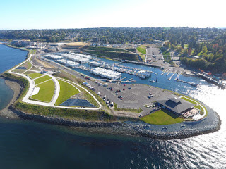 Aerial view of Dune Peninsula showing Puget Sound, walking paths, and the Tacoma Yacht Club.