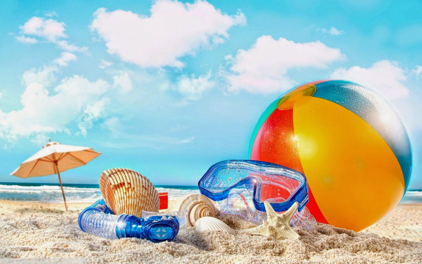 Achtergrond met strandbal en duikbril