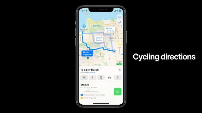 اتجاهات ركوب الدراجات في خرائط Apple