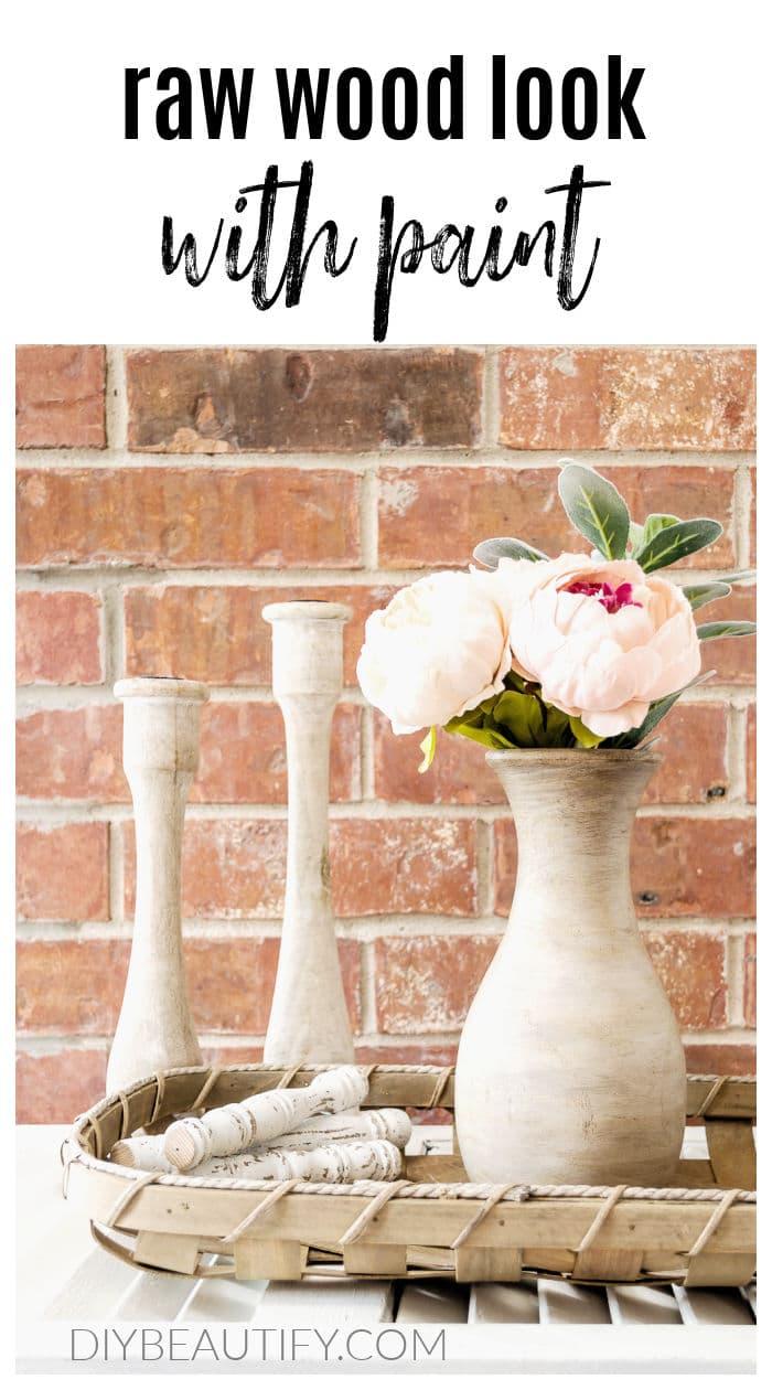 wood vase with natural wood finish