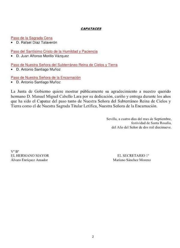 Antonio Santiago nombrado capataz de la Virgen del Subterráneo y de la Virgen de la Encarnación de Sevilla