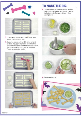 Recipe:  Vampirina Chef Remy's bread bones and pea dip