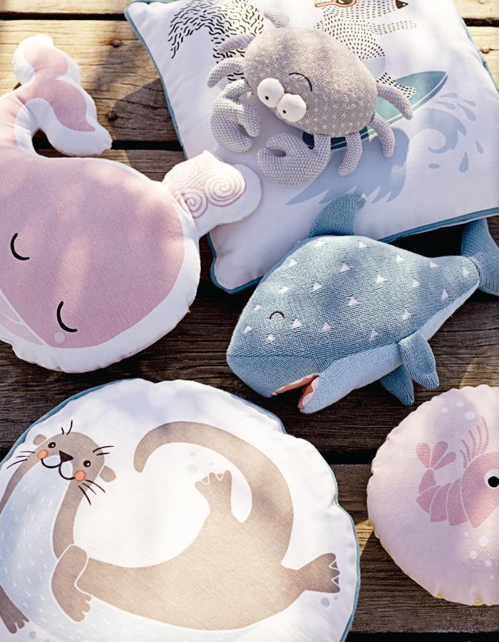 Bloomingville mini  pillows sea animals