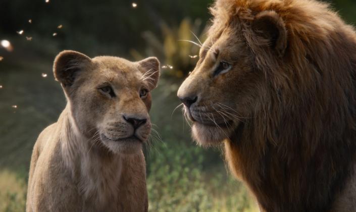 Imagem de capa: cena do live-action de O Rei Leão na qual vemos Nala, uma leoa ao lado de Simba, um leão adulto, em um campo de uma selva, com o sol brilhando sobre várias partículas de pólen no ar.