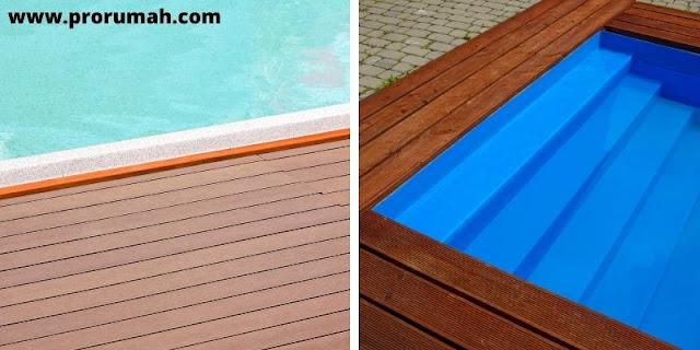 latai kayu outdoor untuk pinggiran kolam renang