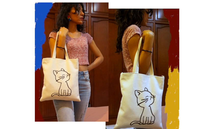 melange red crop top with blue jeans, cat tote, clay statement earrings