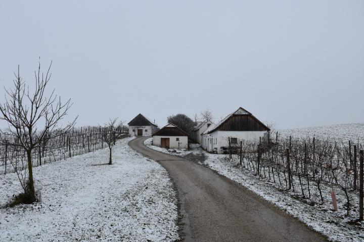 Blick auf die leicht verschneite Kellergasse in Hart-Aschendorf