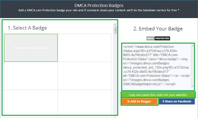 Cara Daftar dan Memasang DMCA Protected di Blog