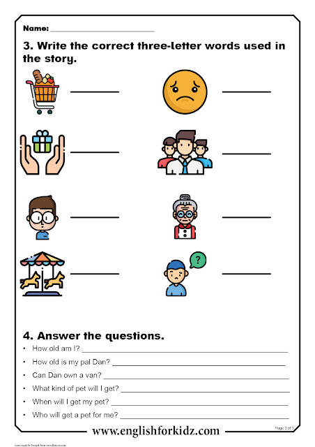Printable reading comprehension worksheet with questions and tasks