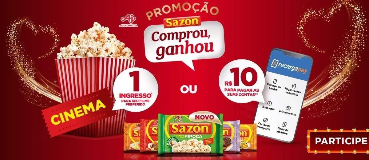 Promoção Sazón 2020 Compre e Ganhe Cinema Grátis ou Crédito Celular