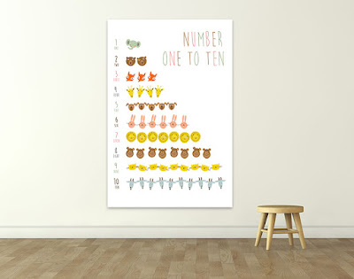 Mama Love Print Printable - 1 to 10 數字早教掛牆圖動物篇 Numbers 1 to 10 Poster with Animals  Free Download Freebies Printable