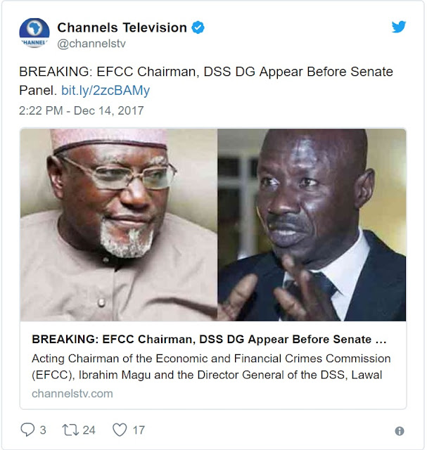 BREAKING News: EFCC Chairman, Magu, and DG of DSS, Daura Appear Before Senate Panel