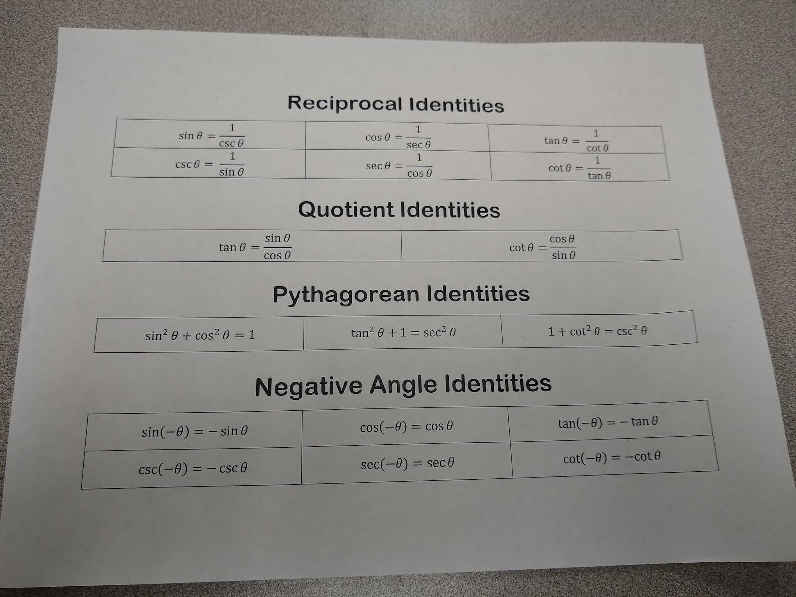 Math Love Trig Identity Group Challenge