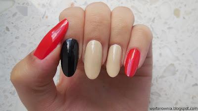 czarno-beżowo-czerwone paznokcie