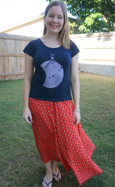 navy graphic tee and red printed maxi skirt | stay at home style Away From Blue