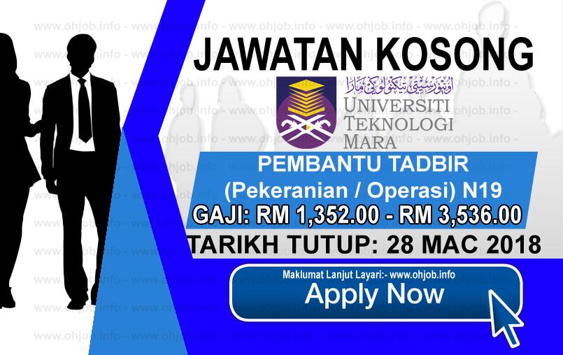 Jawatan Kerja Kosong UiTM - Universiti Teknologi MARA logo www.ohjob.info mac 2018