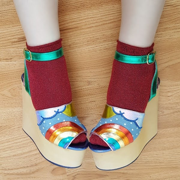 wearing Irregular Choice platform wedges with sparkly ankle socks