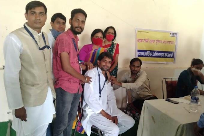 बाइक टैक्सी ड्राइवर यूनियन ऑफ राजस्थान के वैक्सीनेशन कैंप में लगी 300 डोज