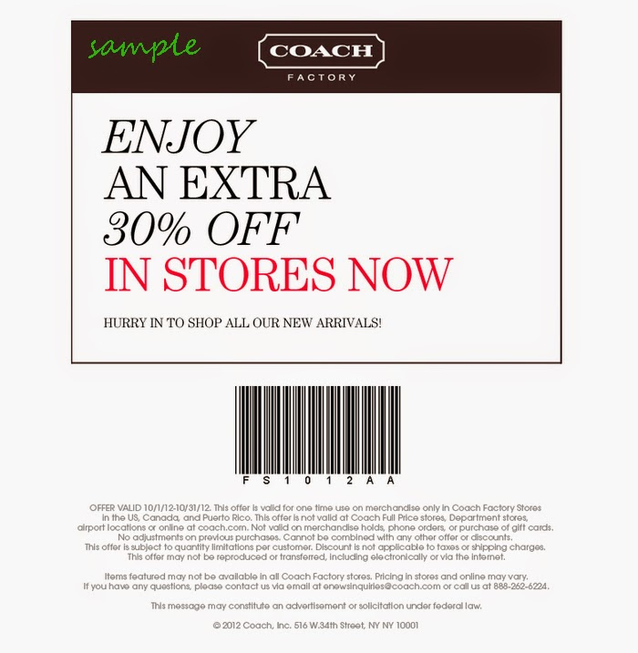 Coach Coupons December 2014