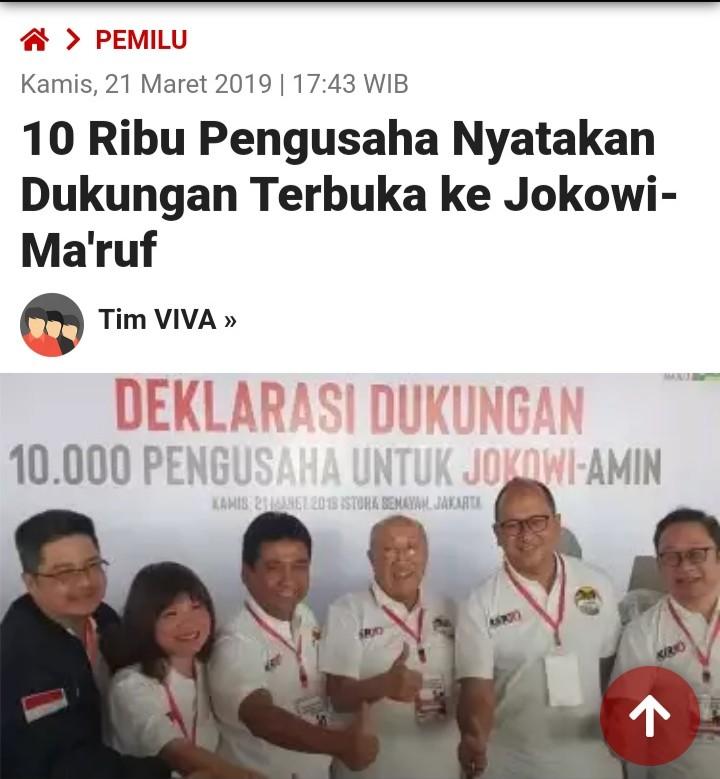Media Sebut 10 Ribu, Ini Penampakkan Asli Deklarasi Pengusaha Dukung Jokowi