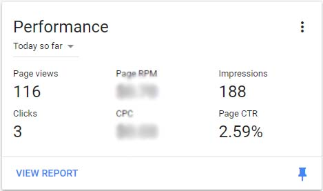 Adsense page views are not updating