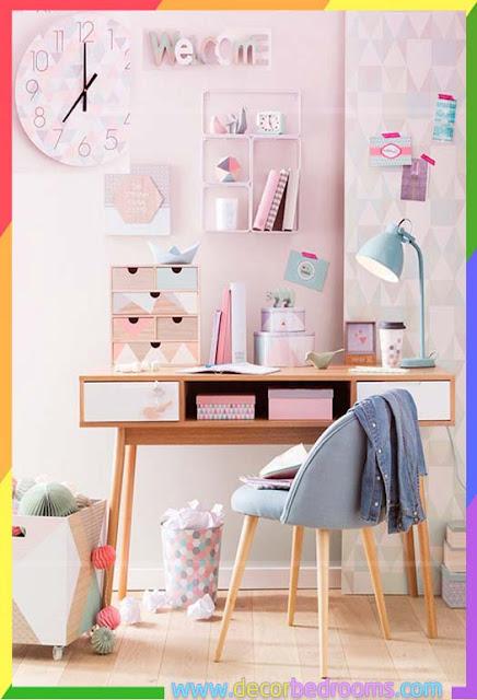 مكتب رائع للدراسة مخصص لغرف نوم بنات المراهقات