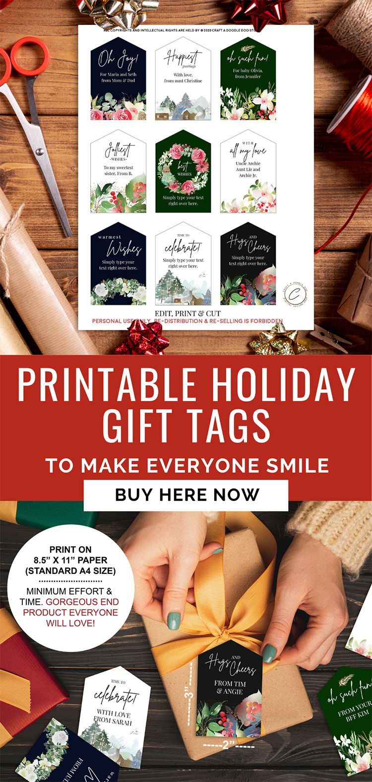 Printable festive gift tags, watercolor holiday tags set of 9, giftwrap tags printable PDF template download