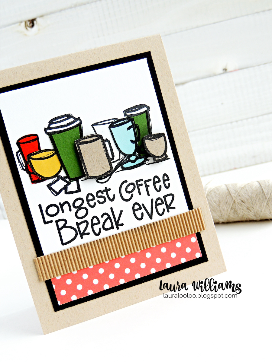 Longest Coffee Break Ever! Isn't this a cute and clever sentiment for retirement cards? These stamps from Impression Obsession are fun to stamp, color, paper-piece and more and you'll love making handmade cards with them!