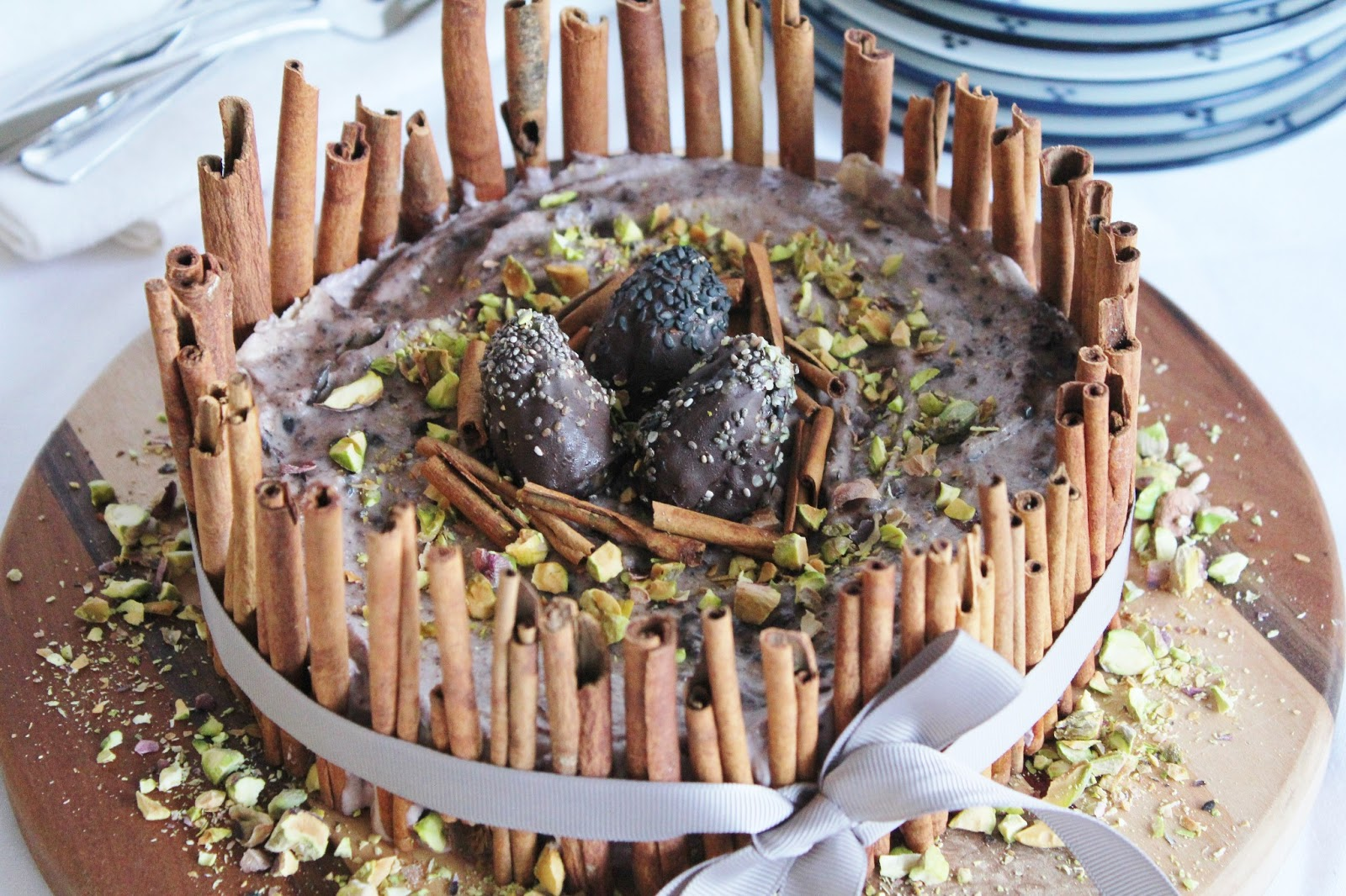 Berry Ice Cream Cake With Chocolate Eggs Pistachios And Cinnamon