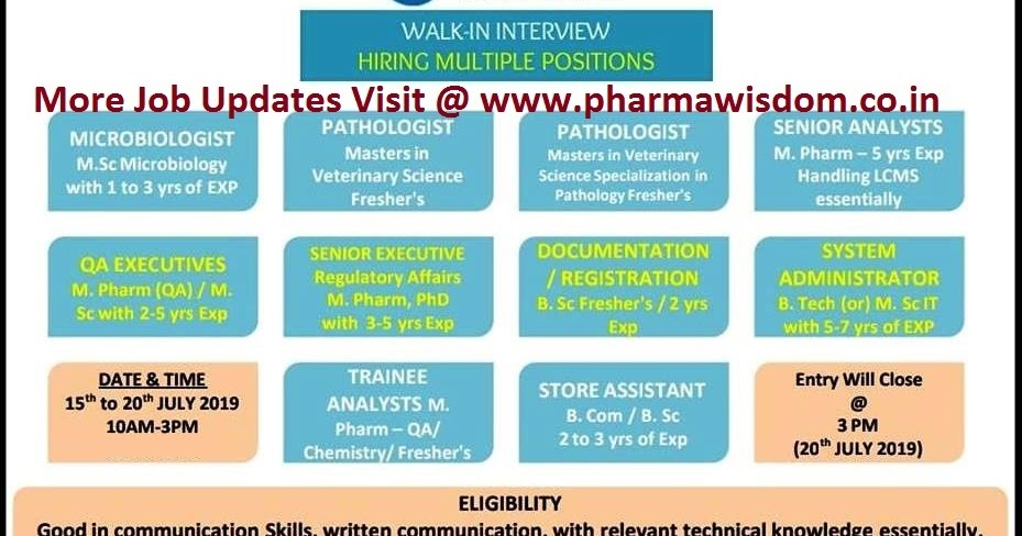 Walk-In Interview for Freshers & Experienced QA / QC / RA