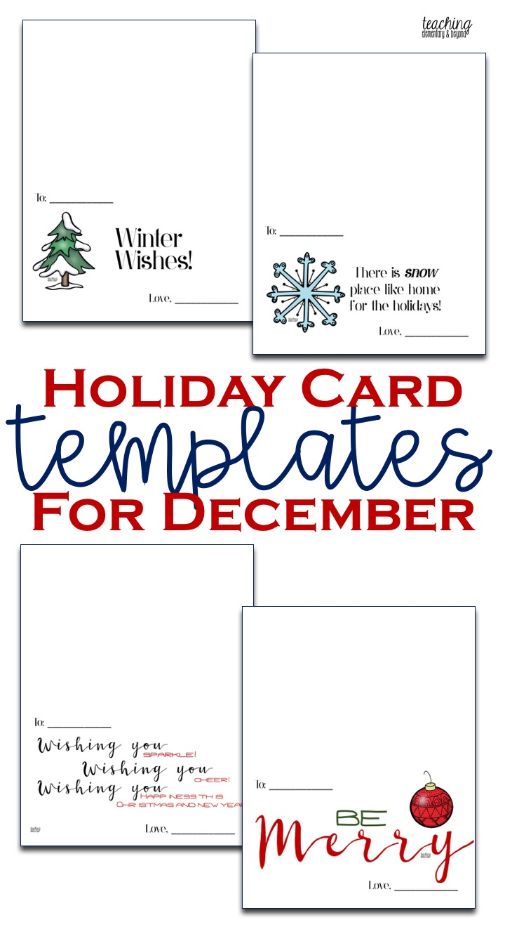 Holiday Card Templates Teaching Elementary Beyond