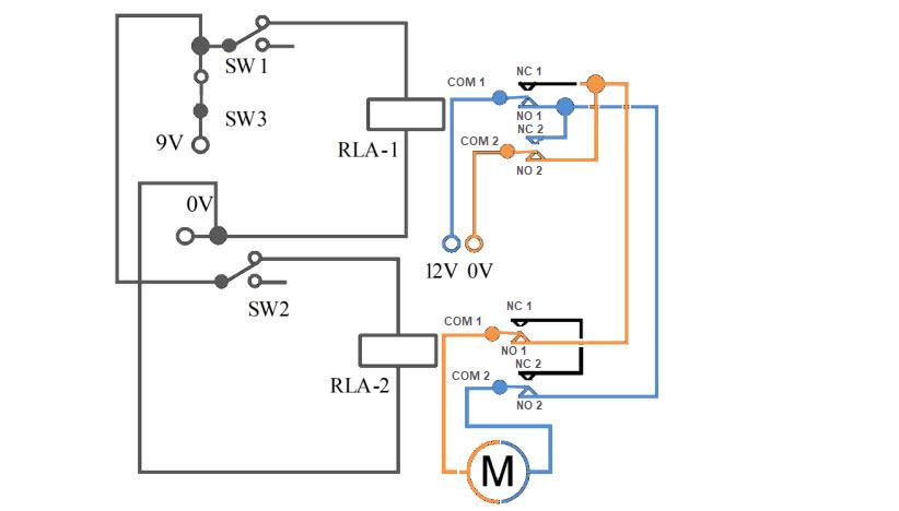 دائرة للتحكم في اتجاه محركات التيار المستمر DC بالريليه