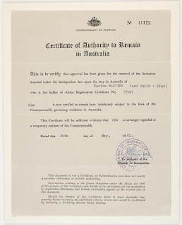 Certificate of Authority to Remain in Australia