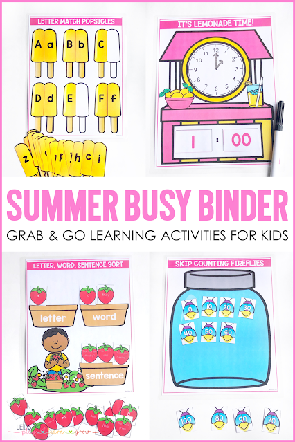 This summer learning activity binder includes 10 summer themed learning activities for preschool and kindergarten. Use it for morning work, traveling, quiet time activities and more. Check out all ten skills covered and see other ways you can use our busy binder products here.