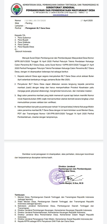 Surat penegasan penyaluran BLT-Dana Desa