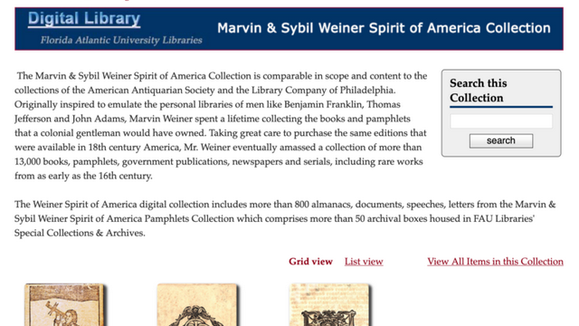 Florida Atlantic University launch  Spirit of America digital library