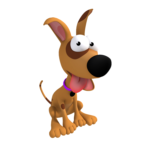 3d cartoon dog tired and sitting