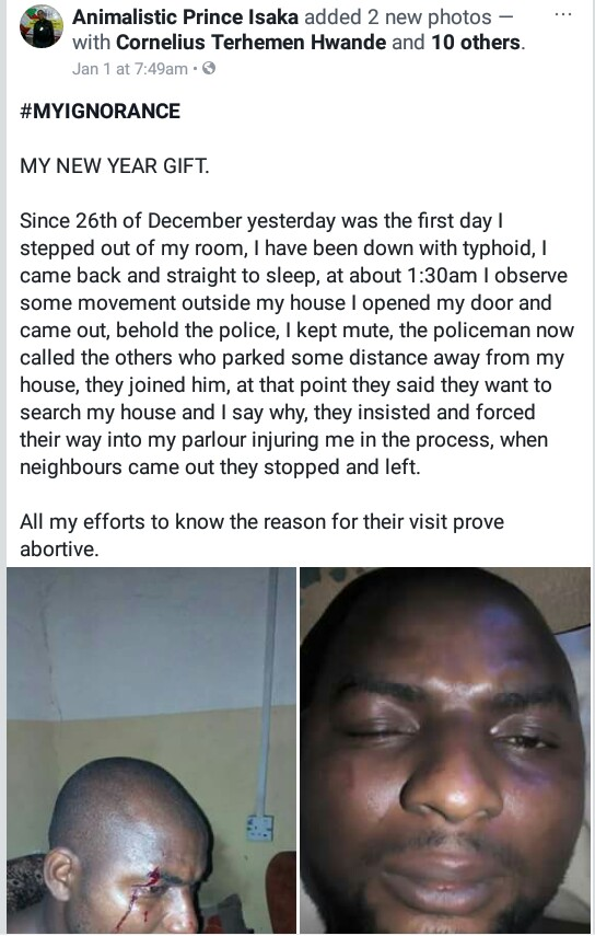 Photos: Member of PDP New Media team in Benue State claims he was attacked by police officers on his sick bed