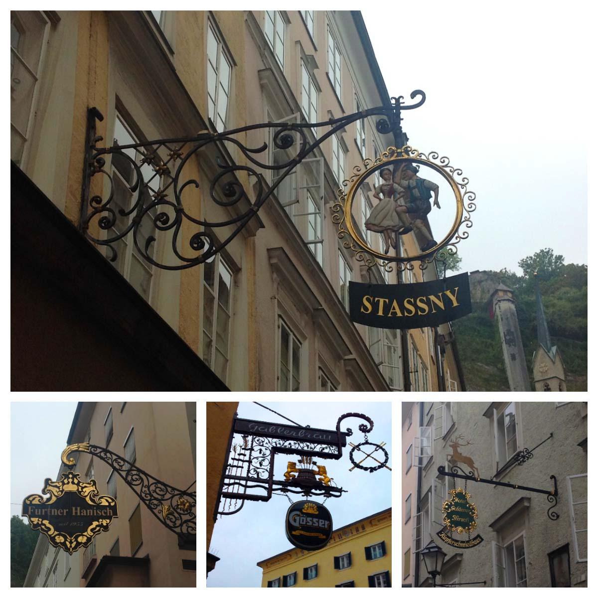 Letreiros em ferro em Salzburg, Áustria