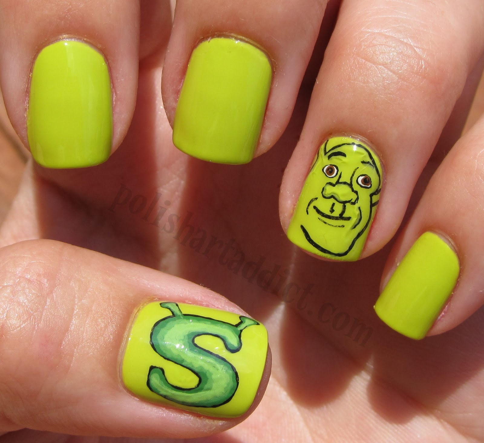 Shrek Nail Art