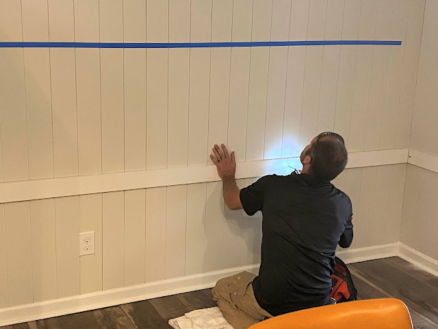 Vertical Shiplap Painted Benjamin Moore Halo with a Built in Desk
