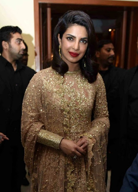 Priyanka Chopra in Golden Embellished Sabyasachi Anarkali Suit
