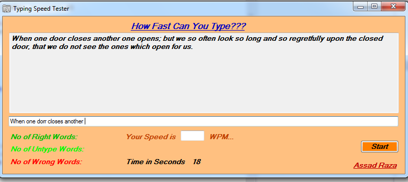 How to make Typing Speed Tester in C#