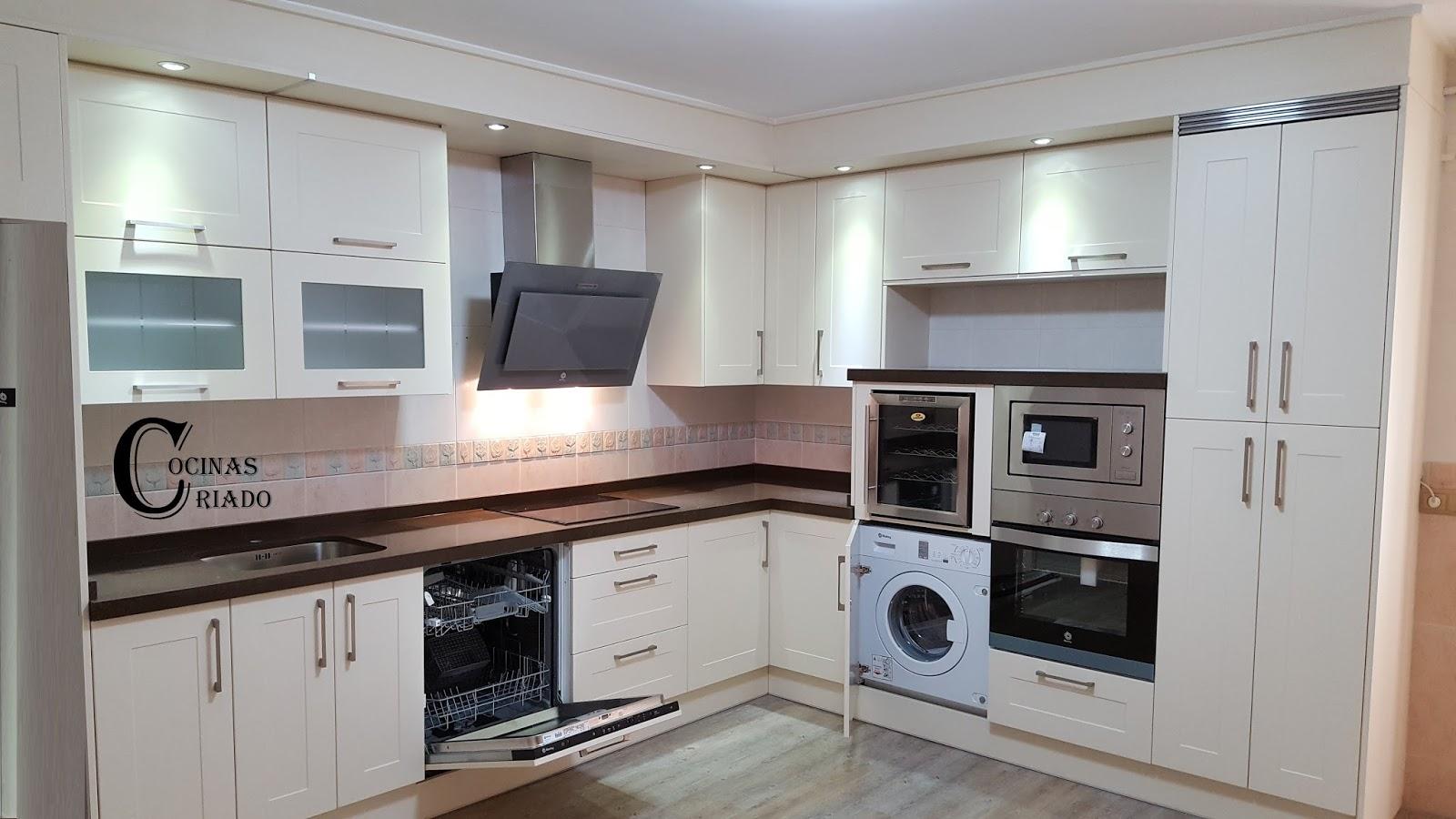 Cocinas criado electrodom sticos integrables o libre for Cocinas blancas con electrodomesticos blancos