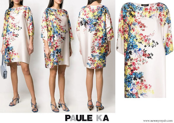 Princess Stephanie wore PAULE KA floral shift dress