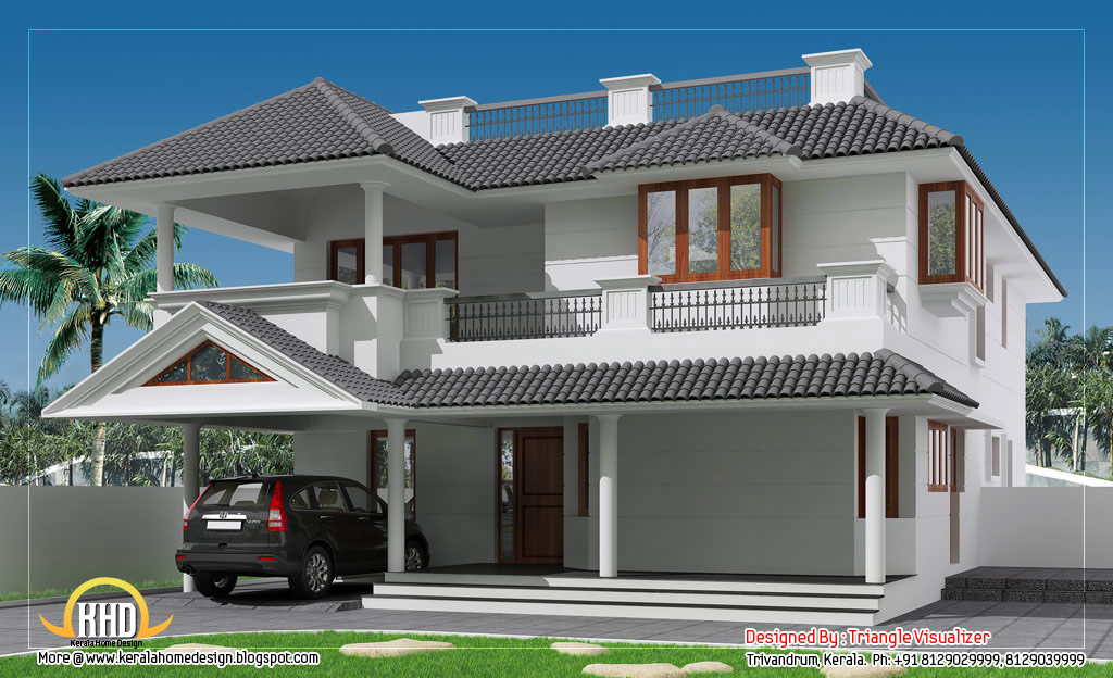 Sloping roof house with cellar floor 3325 sq ft for Sloped roof house plans in india