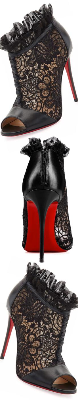 Christian Louboutin Henrietta Lace Peep-Toe Red Sole Bootie, Black