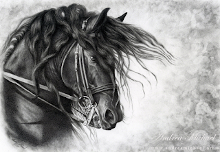 Black-and-white drawing of a dark horse wearing a bridle, with a windblown mane.