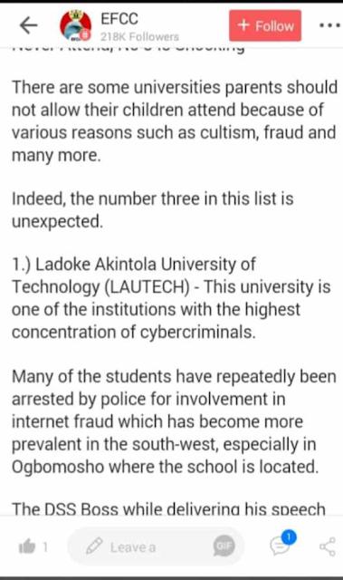 EFCC : LAUTECH TOPS LIST OF UNIVERSITY STUDENTS SHOULD NOT ATTEND